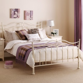 Katrina Stone White Metal Bed