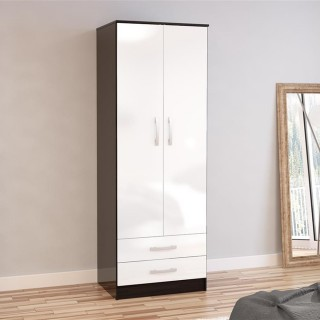 Lynx 2 Door Combination Wardrobe Black and White
