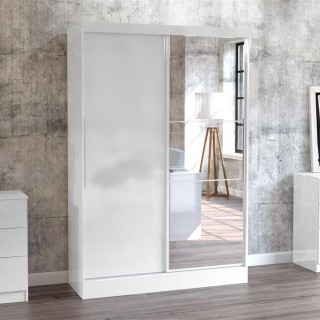 Lynx 2 Door Sliding Mirrored Wardrobe White