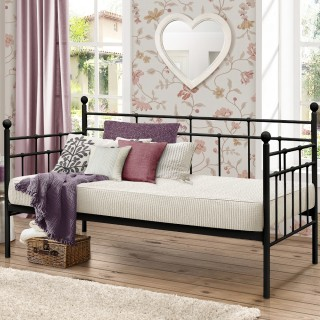 Lyon Black Metal Guest Day Bed - 3ft Single