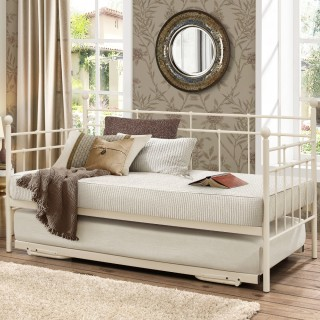 Lyon Cream Metal Guest Bed with Trundle