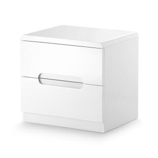 Manhattan Gloss White 2 Drawer Bedside Table