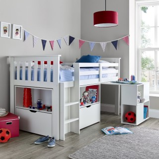 Milo White Wooden Mid Sleeper Kids Bed