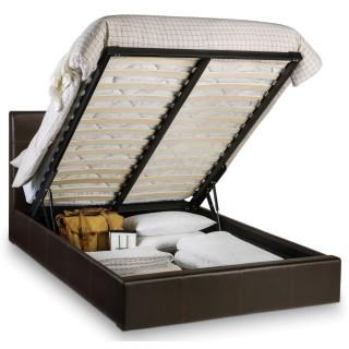 Phoenix Brown Faux Leather Ottoman Storage Bed