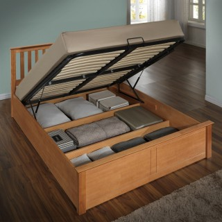 Phoenix Oak Finish Wooden Ottoman Storage Bed