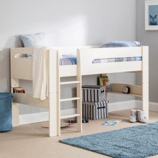 Pluto Stone White Wooden Mid Sleeper