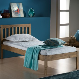 Porto Waxed Rustic Pine Finish Wooden Bed