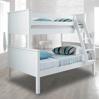 Vancouver White Finish Solid Pine Wooden Triple Sleeper Bunk Bed
