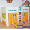 Zyan White Wooden Mid Sleeper With Orange Tent