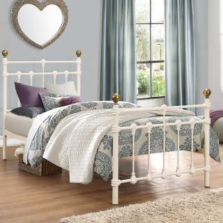 Atlas Cream Metal Bed
