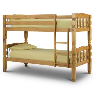 Chunky Antique Solid Pine Wooden Bunk Bed