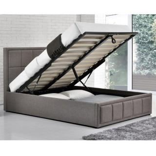 Awesome Cheviot Grey Fabric Automatic Ottoman Storage Bed Pabps2019 Chair Design Images Pabps2019Com