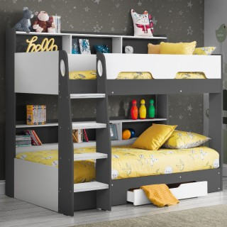 Ellie Grey Wooden Bunk Bed And Trundle Guestbed