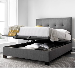 Metro Grey Ottoman Fabric Bed 5ft King Size