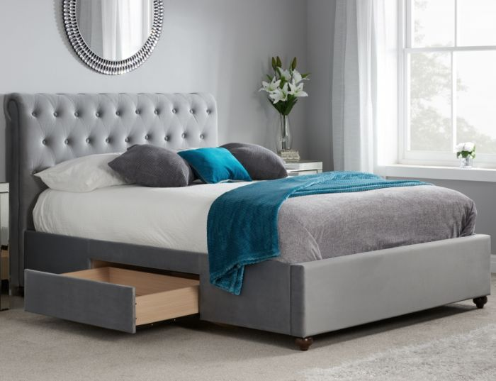 Marlow Grey Velvet Fabric 2 Drawer Storage Bed