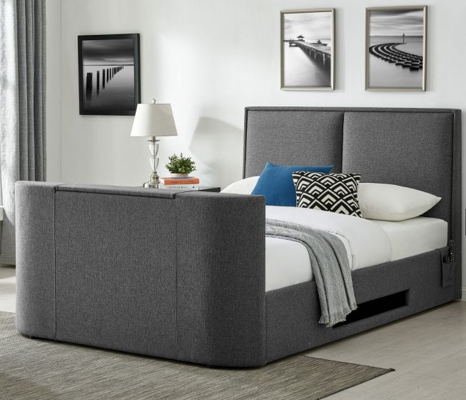 """Valencia Grey Fabric TV Bed With 32"""" TV Included"""