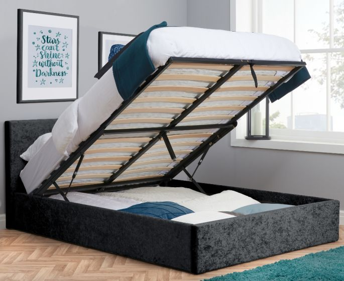 Berlin Black Crushed Velvet Fabric Ottoman Storage Bed from £219.99