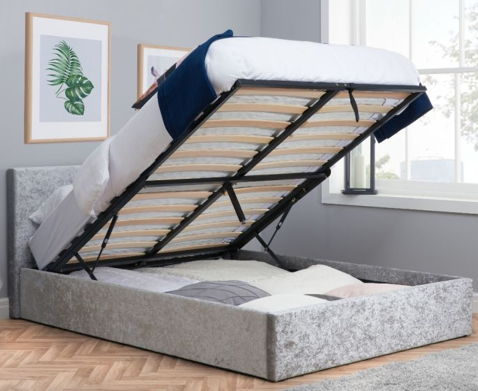 Berlin Steel Crushed Velvet Fabric Ottoman Storage Bed