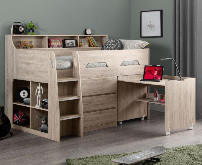 Jupiter Oak Wooden Mid Sleeper Cabin Bed
