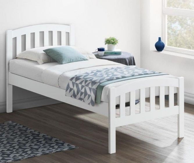 Lyon White Wooden Bed