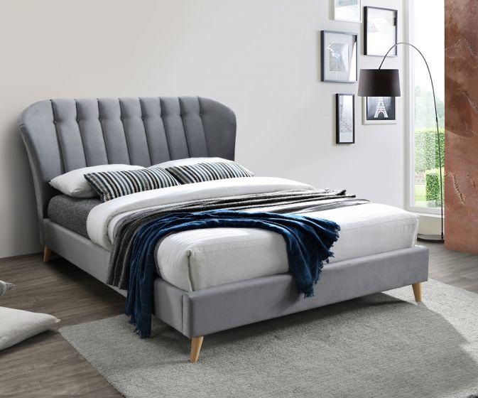 Elm Grey Velvet Fabric Bed