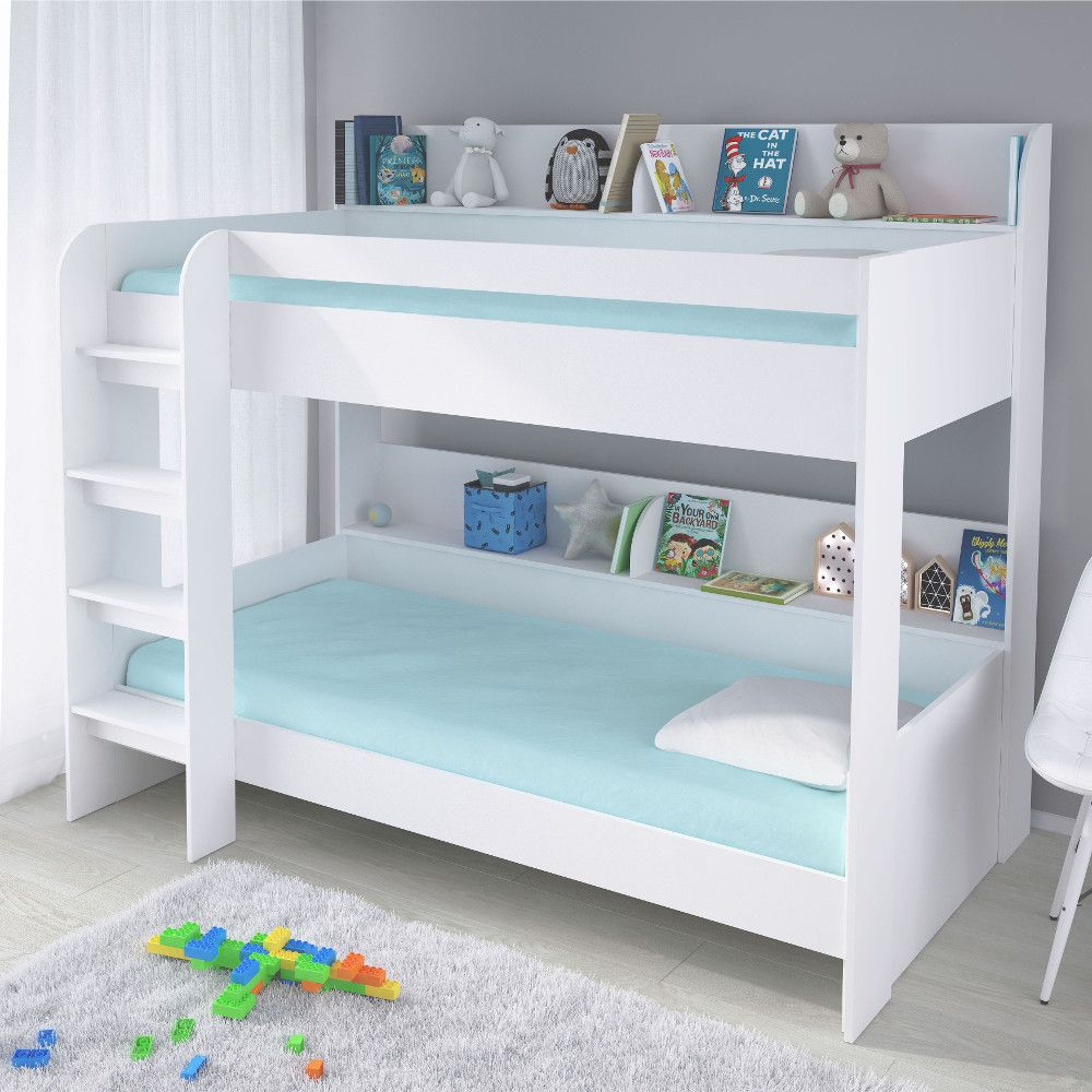 Aerial White Wooden Bunk Bed Frame 3ft Single