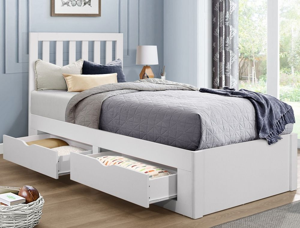 Appleby White Wooden 4 Drawer Storage, Queen Storage Bed With 4 Drawers