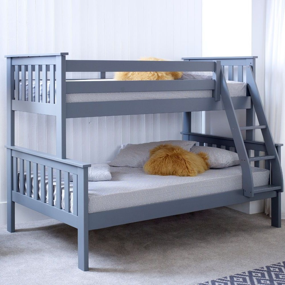 Atlantis Grey Wooden Triple Sleeper Bed Frame 3ft Single Top And 4ft Small Double Bottom