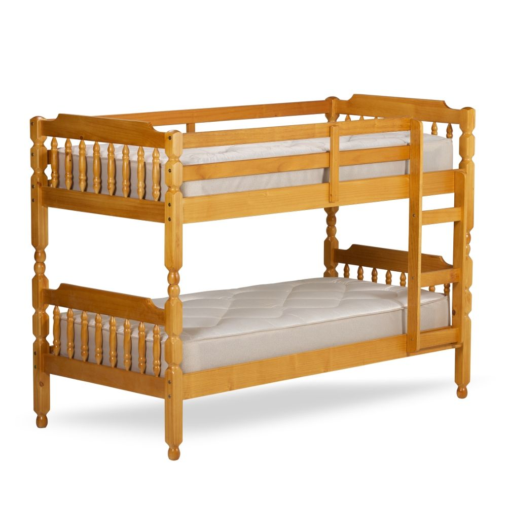 Colonial Honey Pine Wooden Bunk Bed Frame 2ft6 Single