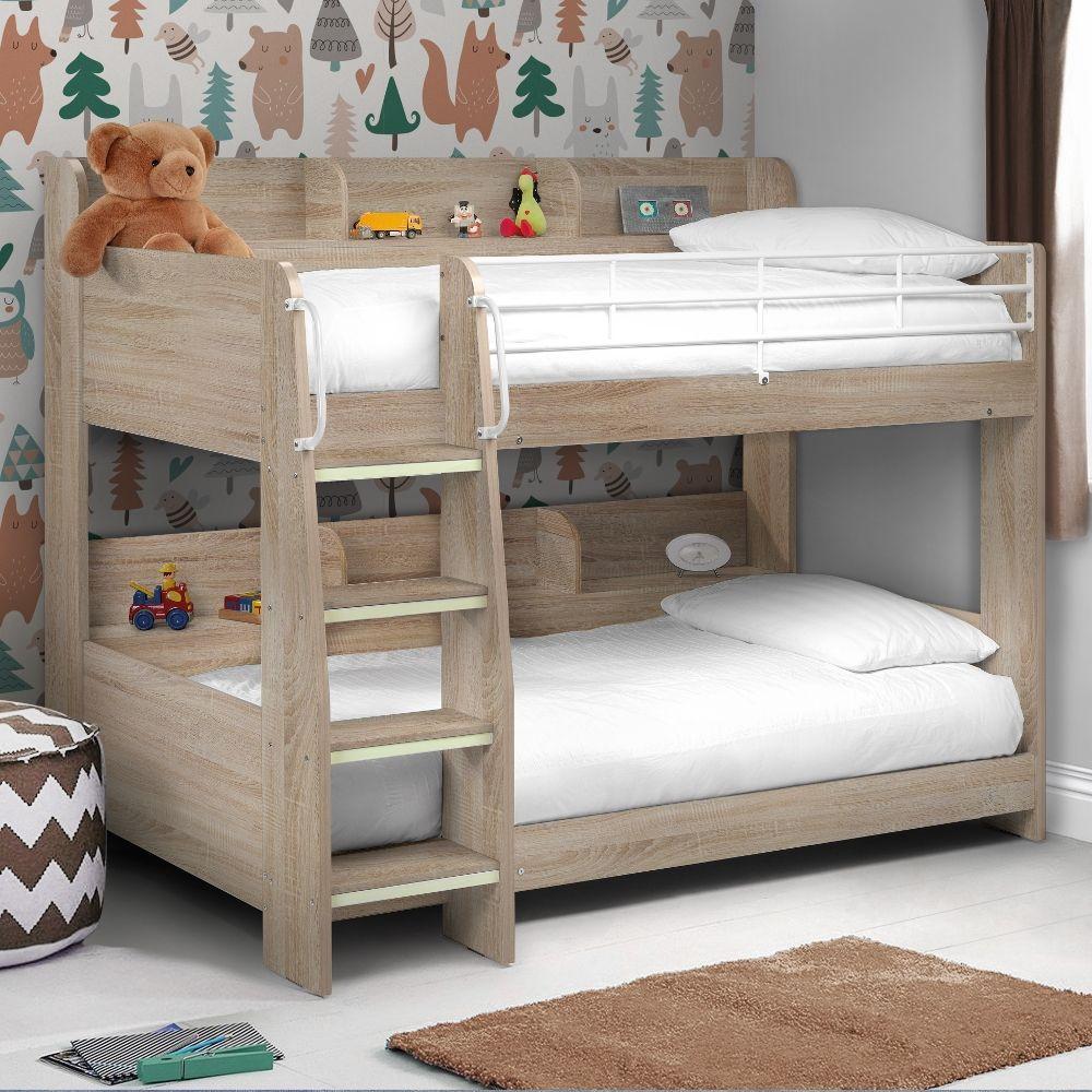 Domino Oak Wooden And Metal Kids Storage Bunk Bed Frame 3ft Single