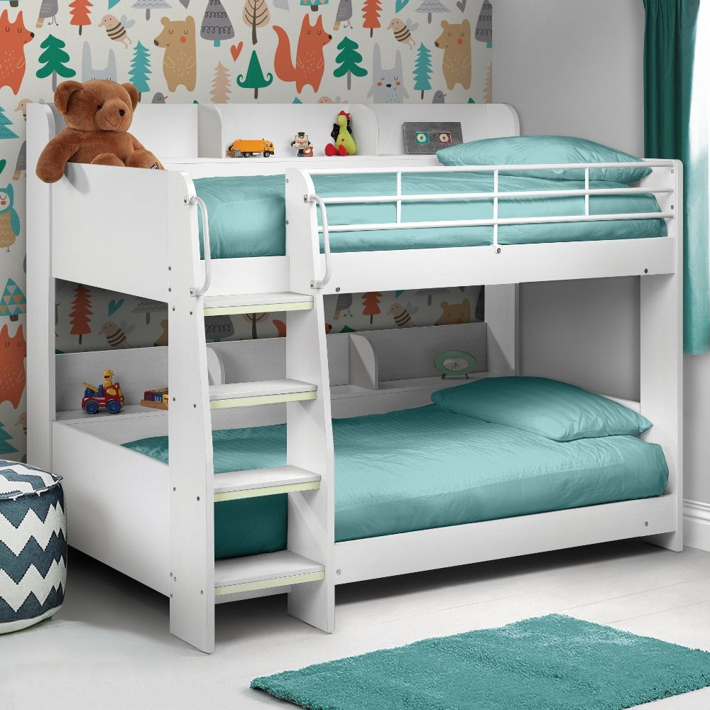 Domino White Wooden And Metal Kids Storage Bunk Bed Frame 3ft Single