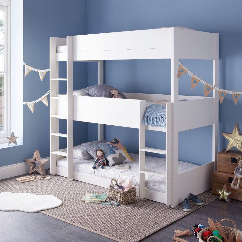 Snowdon White Wooden Triple Sleeper Bunk Bed Frame Only 3ft Single