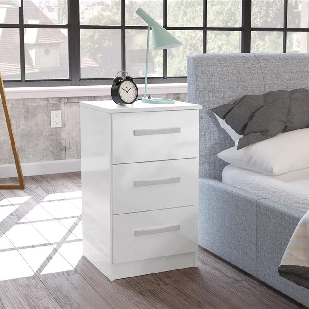 Lynx 10 Drawer Bedside Table White