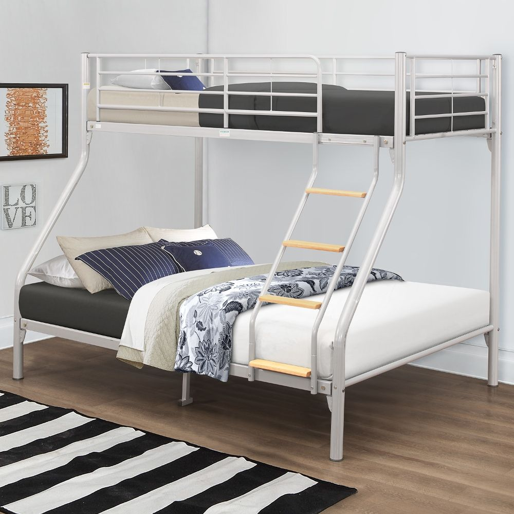 Nexus Silver Finish Metal Triple Sleeper Bunk Bed Frame 3ft Single Top And 4ft6 Double Bottom
