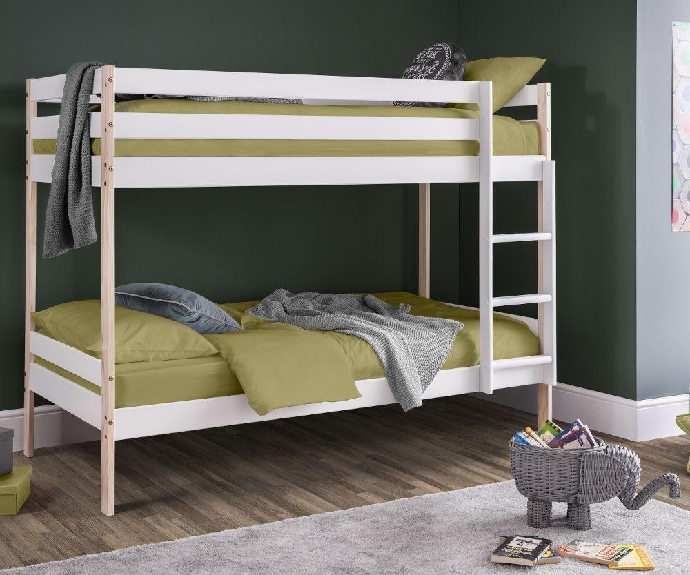 Nova White And Oak Bunk Bed Frame 3ft Single