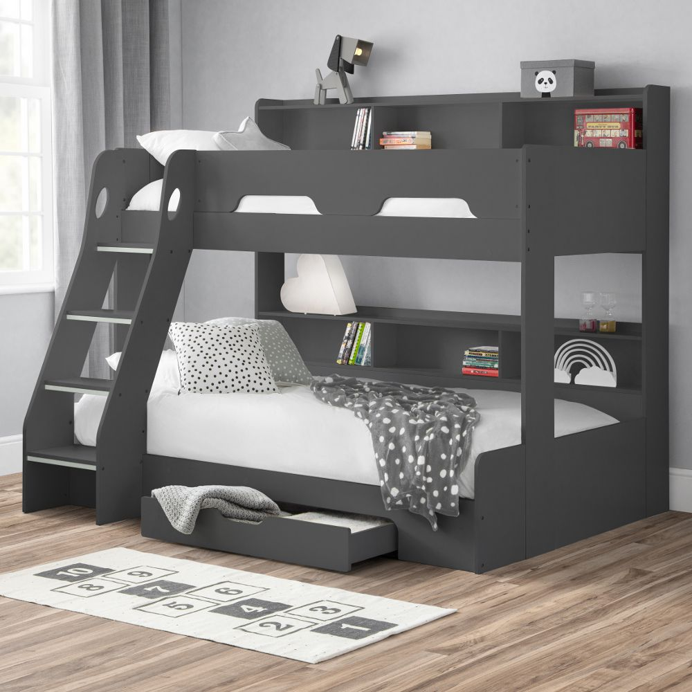 Orion Anthracite Wooden Storage Triple Sleeper Bunk Bed Frame 3ft Single Top And 4ft Small Double Bottom