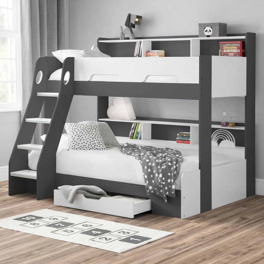 Orion Grey And White Wooden Storage Triple Sleeper Bunk Bed Frame 3ft Single Top And 4ft Small Double Bottom