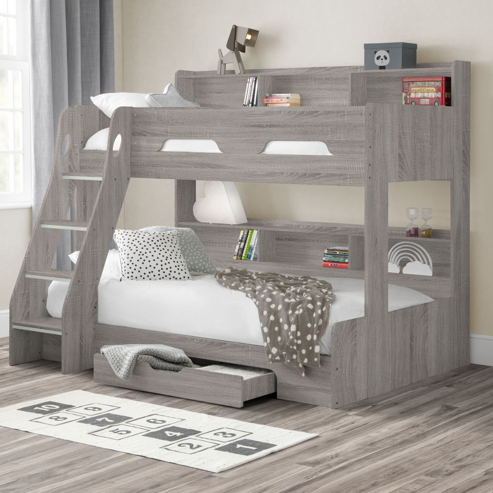 Orion Grey Oak Wooden Storage Triple Sleeper Bunk Bed Frame 3ft Single Top And 4ft Small Double Bottom