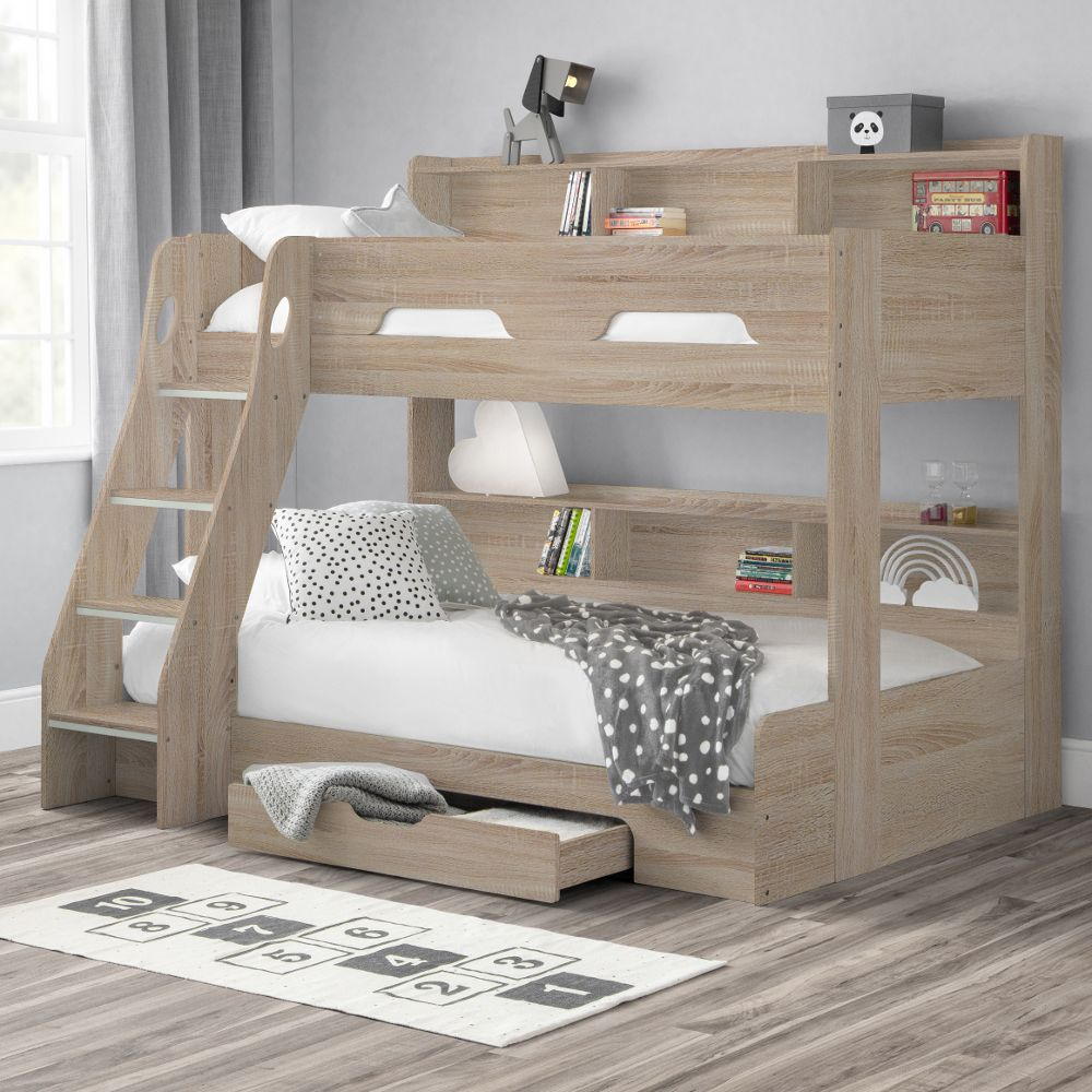 Orion Oak Wooden Storage Triple Sleeper Bunk Bed Frame 3ft Single Top And 4ft Small Double Bottom