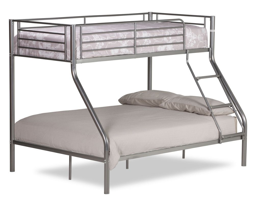 Twin Sleeper Silver Metal Bunk Bed Frame 3ft Single Top And 4ft6 Double Bottom
