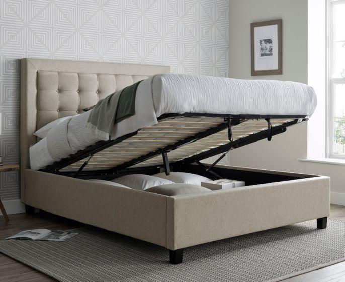 Brandon Oatmeal Fabric Ottoman Bed
