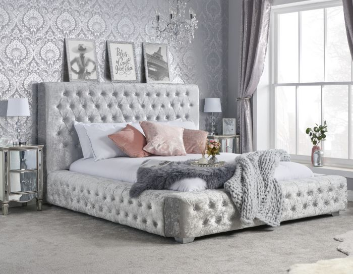Grande Steel Crushed Velvet Fabric Bed