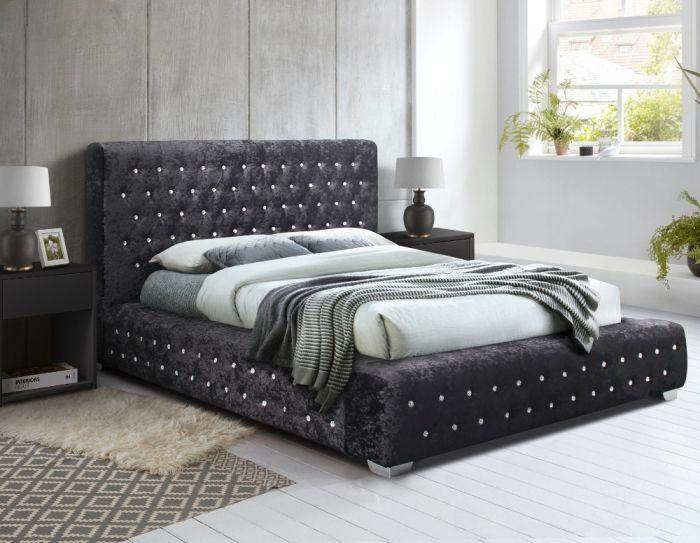 Grande Black Crushed Velvet Fabric Bed