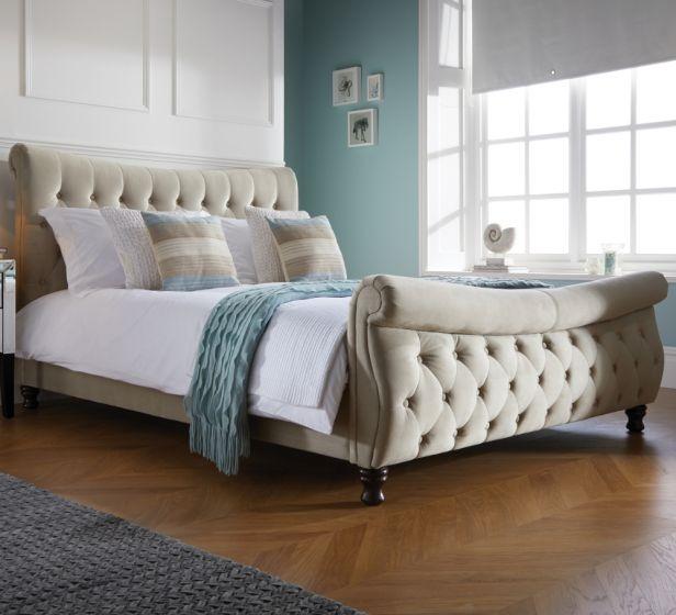 Copenhagen Warm Stone Fabric Scroll Sleigh Bed