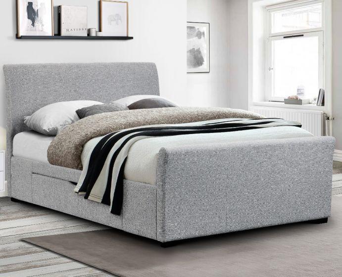 Capri Light Grey Fabric 2 Drawer Storage Sleigh Bed