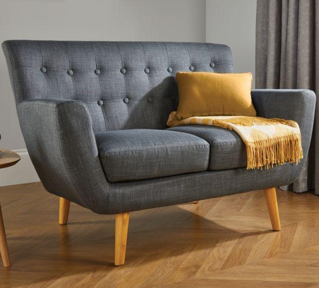 Loft 2 Seater Grey Fabric Sofa