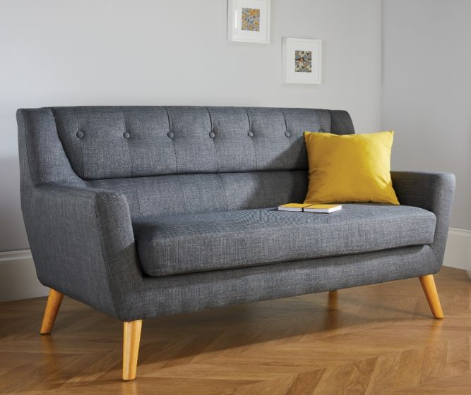 Lambeth 3 Seater Grey Fabric Sofa