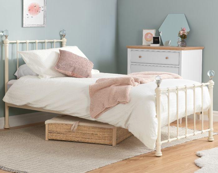 Jessica Cream Metal Bed