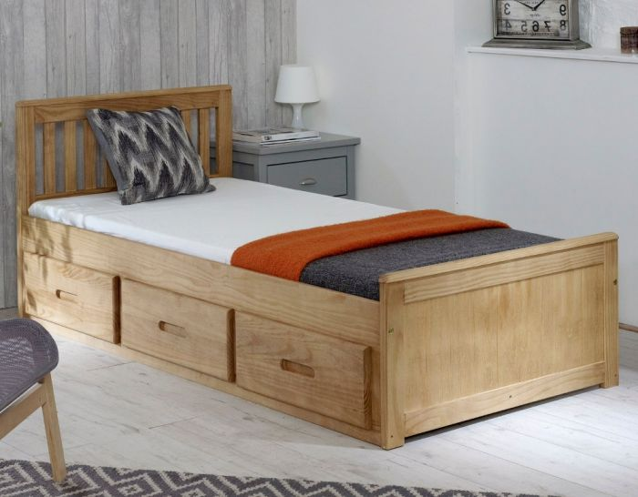 Mission Waxed Pine Wooden Storage Bed Frame - 3ft Single