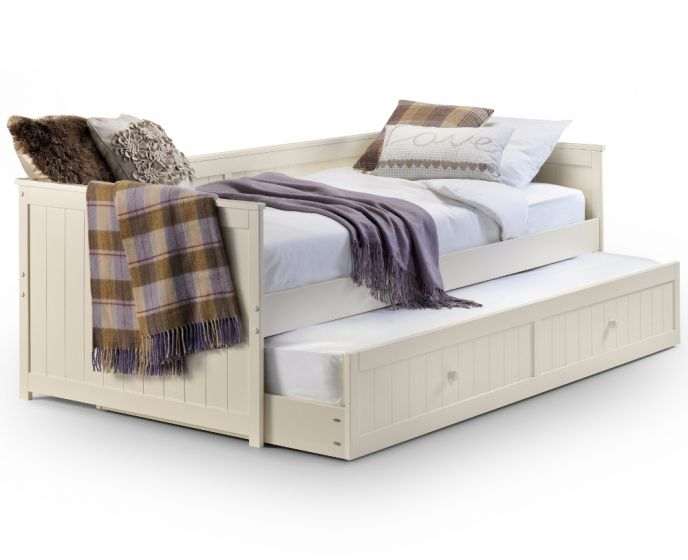 Jessica Stone White Wooden Guest Bed Frame and Trundle - 3ft Single